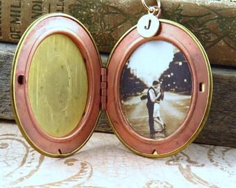 Large Vintage Gold Brass Locket Necklace
