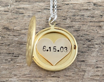 Wedding Date Locket Necklace, Gold Custom Date Necklace