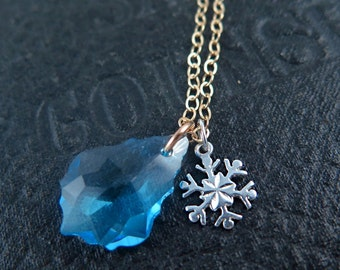 Snowflake Necklace, Bridesmaid Necklace, Winter Wedding, Snowflake Jewelry, Baroque Pendant, Crystal Necklace