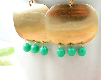 Chandelier Dangle Earrings Teal Earrings Boho Earrings Bohemian Pendant Blue Green Geometric Jewelry