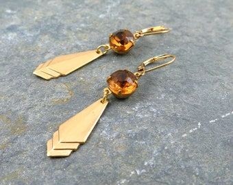 Drop Earrings, Citrine Earrings, November Birthstone, Topaz, Art Deco Earrings, Citrine Drops, Geometric Earrings, Citrine Gift
