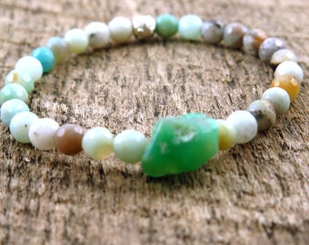 Amazonite and Chrysoprase Beaded Bracelet