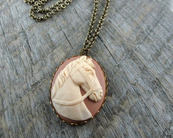 Equestrian Horse Cameo Necklace Western Long Necklace