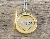 Personalized Locket Necklace, Hand Stamped Date Necklace, Gold Locket, Anniversary Necklace, Name Necklace