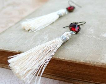 Cream Silk Tassel Earrings with Red Rhinestones