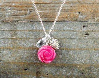 Pink Jade Flower Necklace with Silver Pinecone