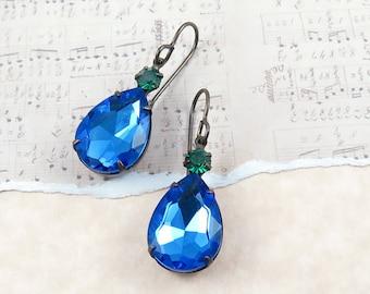 Sapphire Rhinestone Dangle Earrings Blue and Green Drop Earrings Holiday Jewelry Blue Earrings