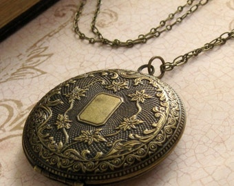 Large Antiqued Locket Necklace Long Locket Pendant