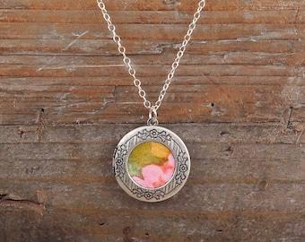 Round Silver Locket, Vintage Wallpaper Locket, Flower Print Locket, Watercolor, Photo Locket, Gift for Her