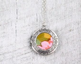 Vintage Wallpaper Locket, Flower Locket, Silver Locket, Floral Wallpaper, Photo Locket, Gift for Her, Mother's Day gift