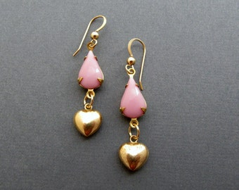 Gold Heart Earrings Pink Drop Earrings Mothers Day Gift Gold Filled Vintage Earrings