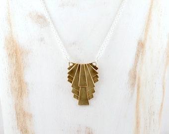 Gold Art Deco Style Geometric Pendant Necklace