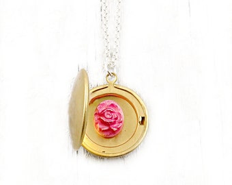 Tiny Locket, Flower Necklace, Mothers Day Gift, Initial Necklace, Floral Jewelry, Personalized Locket, Gift for Bridesmaids