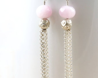 Pink Kunzite Earrings Silver Tassel Earrings