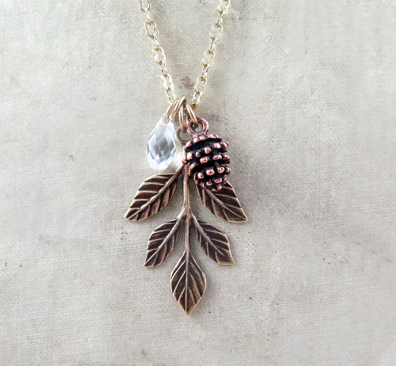 Leaf Necklace Pinecone Necklace Woodland Jewelry Pine Cone image 0