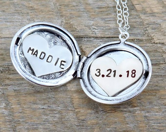 Silver Locket Necklace with Personalized Name and Date