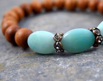 Sandalwood Bracelet, Amazonite Bracelet, Beaded Bracelet, Gemstone Bracelet, Stacking Bracelet, Boho Bracelet