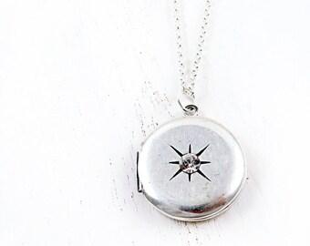 Vintage Starburst Locket, Sterling Silver Pendant, Round Locket, Star Jewelry, Anniversary Gift