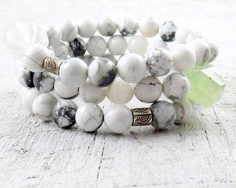 White Beaded Bracelet, Howlite Bracelet Set, Hill Tribe Silver, Raw Prehnite, Gemstone Bracelet Set