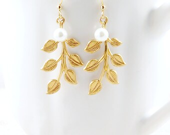 Gold Leaf and Pearl Dangle Earrings Woodland Wedding