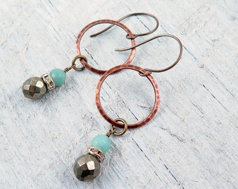 Amazonite and Pyrite Hoop Earrings
