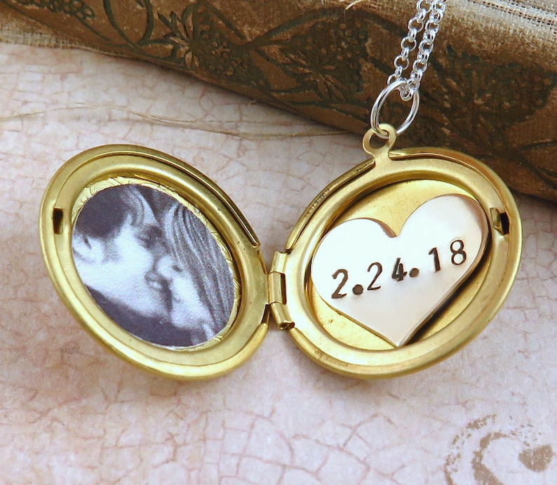 Photo Locket Necklace Wedding Locket Personalized Date image 0