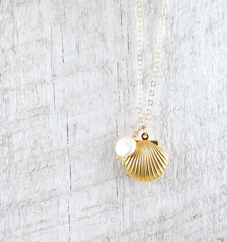 Sea Shell Locket Necklace Gold Seashell Necklace Ocean with pearl
