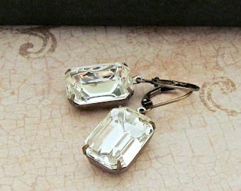 Rhinestone Crystal Clear Dangle Earrings, Vintage Emerald Cut