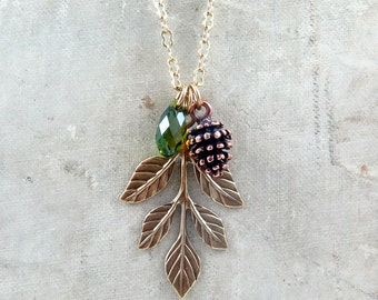 Leaf and Pine Cone Necklace for Autumn