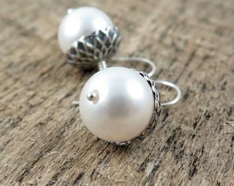 Silver Acorn Earrings and White Pearl Earrings
