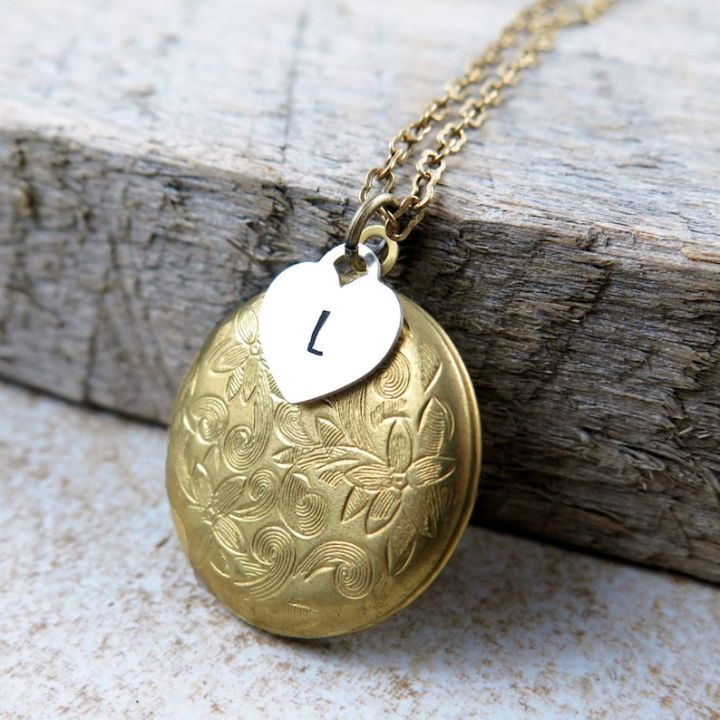Personalized Locket Necklace Gold Locket Necklace Initial image 0
