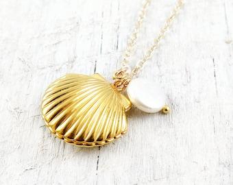 Gold Shell Locket Necklace Mermaid Jewelry