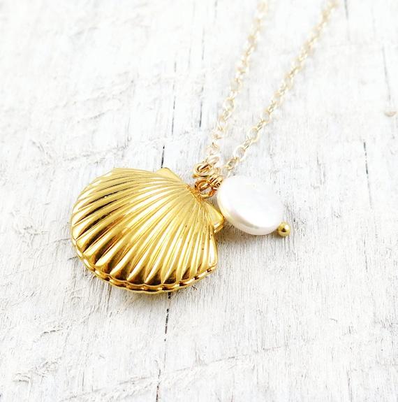 Sea shell locket necklace seashell locket pendant gold locket gold sea shell locket necklace seashell locket pendant gold locket gold sea shell necklace aloadofball Gallery
