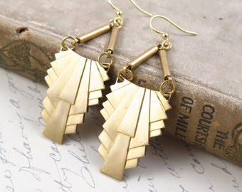 Art Deco Brass Geometric Earrings