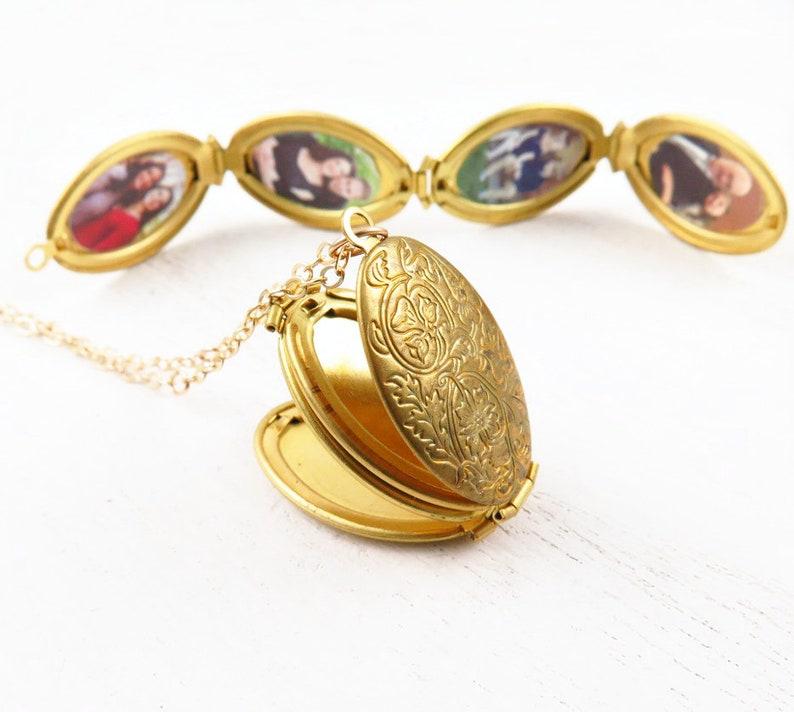 Four Photo Locket Necklace Family Tree Jewelry 4 Photo Locket w/4 photos