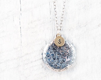 Silver Personalized Initial Locket Necklace Floral Locket Necklace