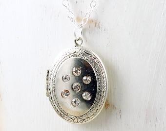 Silver Vintage Locket, Locket with Photo, Rhinestone Locket, Picture Locket, Locket with Rhinestones, Sparkle Jewelry