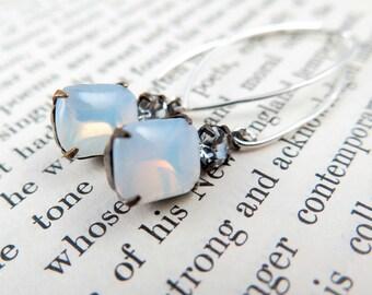 White Opal Earrings, Opal Jewelry, Opal Gift, Fairytale Gift, Rhinestone Dangle Earrings, Gift for Her, October Birthstone