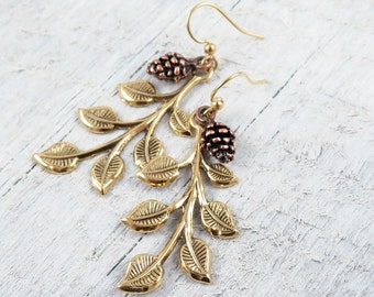 Pine Cone Earrings Gold Leaf Earrings  Pinecone Earrings Tree Branch Forest Earrings Rustic Woodland Wedding Romantic