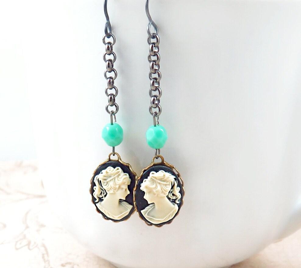 Silhouette Earrings: Cameo Earrings Gunmetal Earrings Silhouette Jewelry
