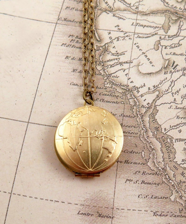 World Map Locket Globe Necklace Map Necklace Graduation image 0