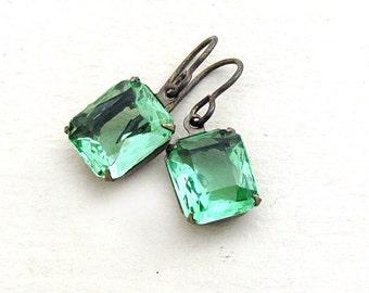 Green Rhinestone Earrings Green Earrings Vintage Rhinestone Garden Gift for Her