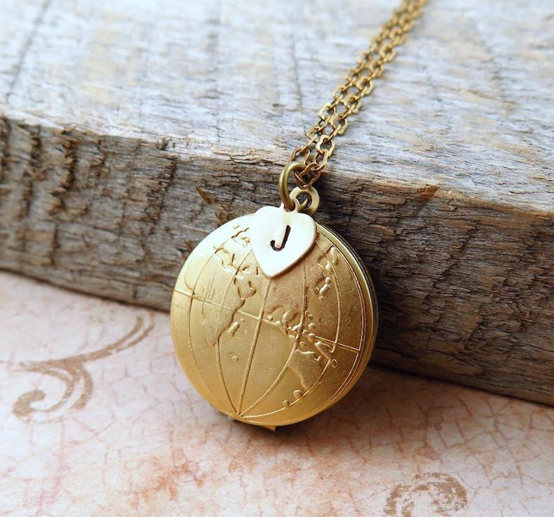 Personalized Globe Locket Necklace World Map Necklace image 0