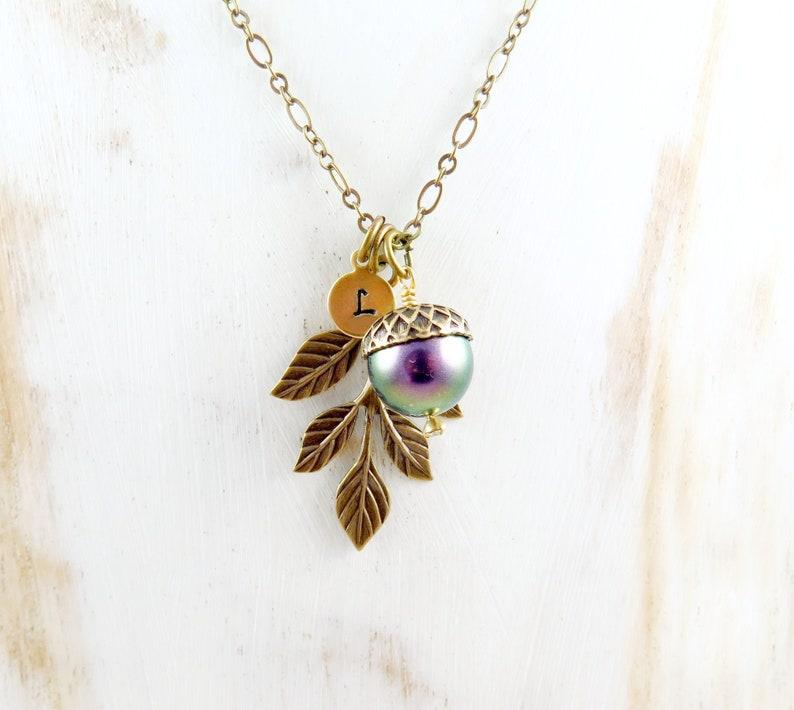 Pearl Acorn Necklace Iridescent Necklace Purple Pearl Leaf image 0