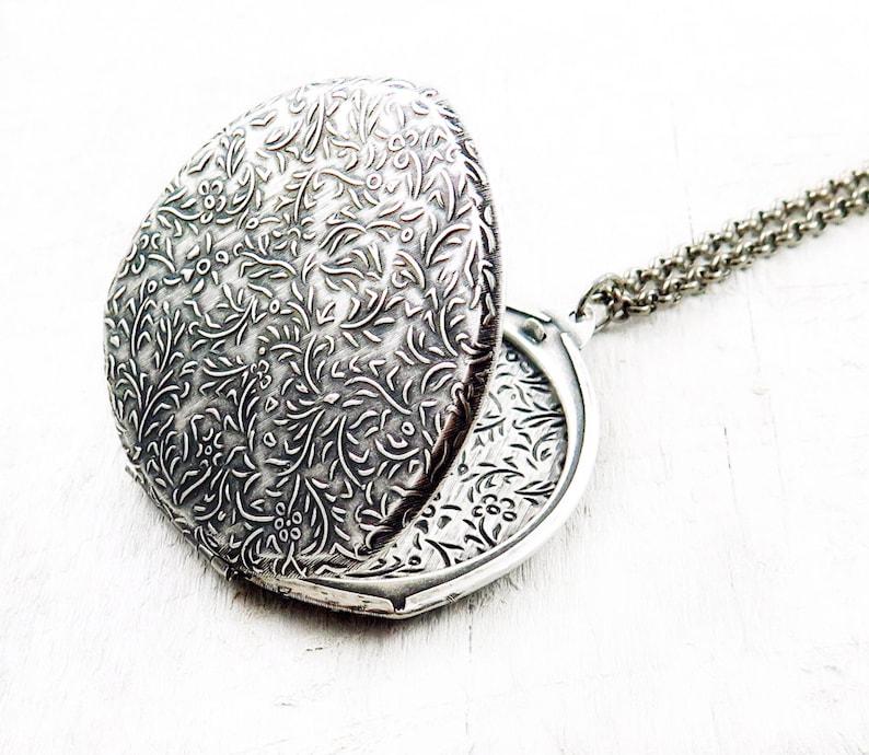 Large Silver Floral Locket Necklace Geometric Locket Flower image 0