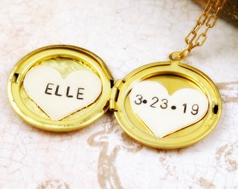 Gold Personalized Locket Necklace with Name and Date