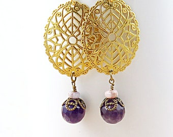 Amethyst Filigree Dangle Earrings