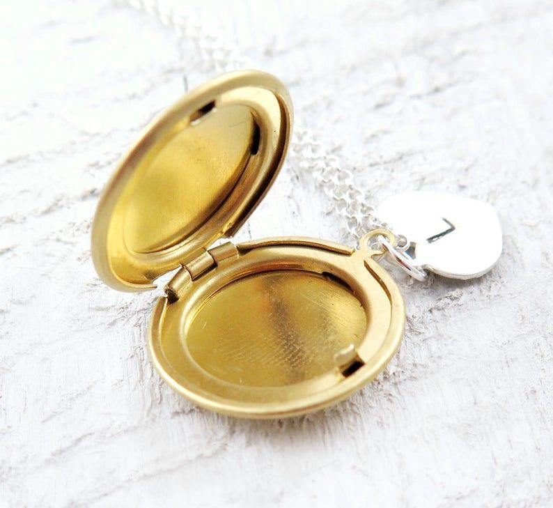 Initial Locket Necklace Tiny Locket Personalized Locket image 0