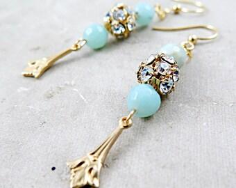 Blue Amazonite Earrings Gold Art Deco Earrings Dangle Earrings Rhinestone Earrings Holiday Jewelry