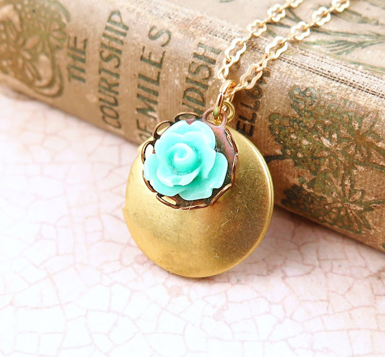 Flower Locket Necklace Photo Locket Gift for Mom Mint image 0